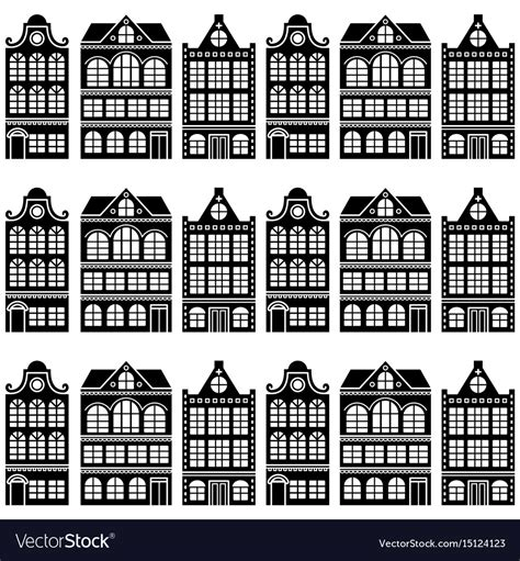 seamless pattern houses seamless house pattern dutch amsterdam houses vector image