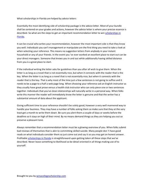 Scholarship Letter Of Recommendation Sle Recomendation Letter For Scholarships In Florida