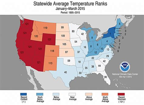 us average temperature map march national overview april 2015 state of the climate