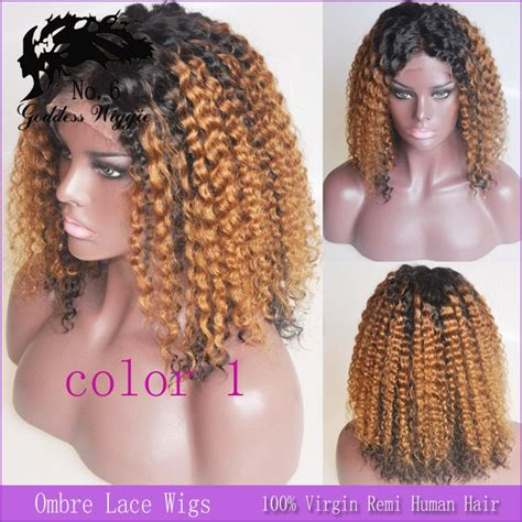 kinky curly hair partials 16 inch black to auburn kinky curly wigs ombre lace front