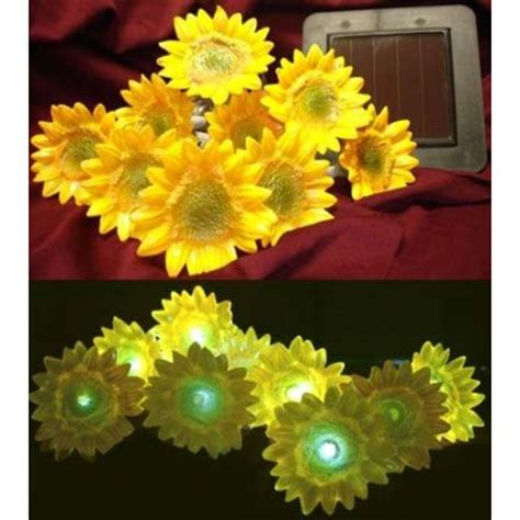 Decorative Small Yellow Sunflower String Solar Led Lights Sunflower Lights