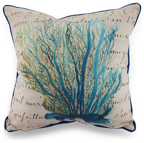 Blue Coral Pillow by Betsy Blue Coral Print Beige In Outdoor Decorative