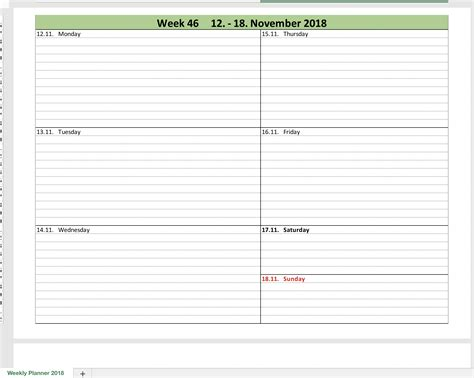 Weekly Calendar 2018 With Excel Excel Templates For Every Purpose Calendar Planner Template 2018