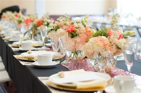 bridal shower table decorations flowers modern bridal shower with a pink gold black