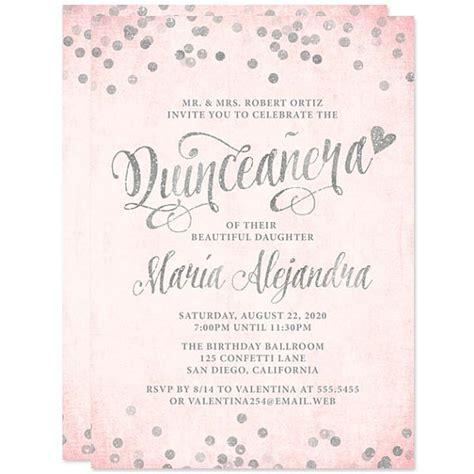 printable invitations for quinceanera blush pink silver quinceanera invitations printed