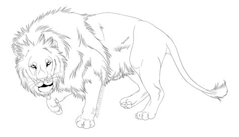 Free Use Lion Lineart By Kalenka On Deviantart Free Line Drawings Of Animals