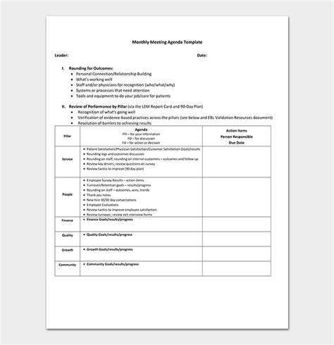 Management Meeting Agenda Template 14 Word Excel Pdf Management Meeting Template