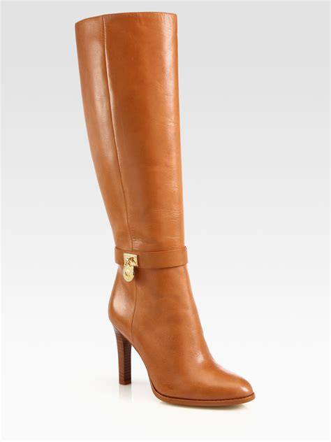 michael michael kors hamilton leather boots in brown lyst