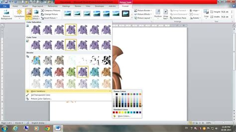 change color of how to change color of a picture image in ms word