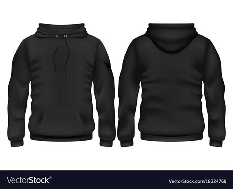 Jaket Zipper Hoodie Sweater Go 1 Hitam front and back black hoodie template royalty free vector