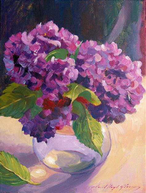 acrylic painting hydrangea hydrangeas glass bowl painting by david lloyd