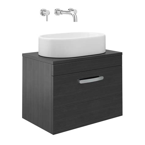 Counter Basin Cabinets by Black Single Drawer Wall Hung Cabinet With