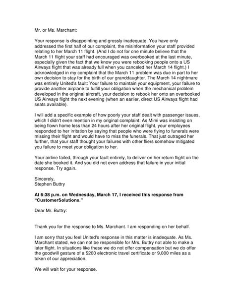 Sle Complaint Letter Airline Lost Luggage United Airlines Complaint Resolved