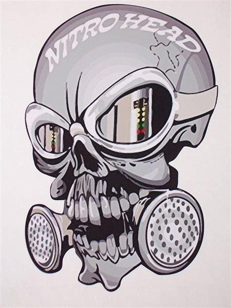 nitro head skull trailer window decal decals sticker nhra
