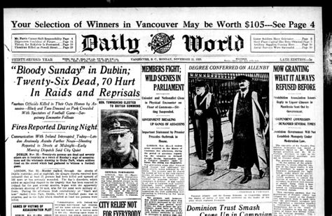 daily commercial news reporting on the canadian this day in history 1920 ireland s bloody sunday