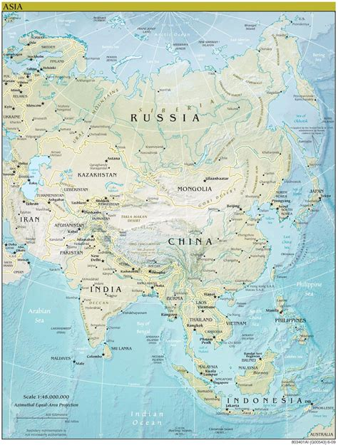 map of asia continent asia continent detailed physical map continent detailed