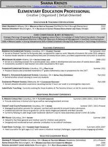 Sle Resume For Fresher Teachers by Elementary Resume Exles Sle Resumes