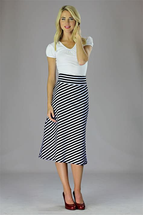 Knit Top A Line Skirt modest midi skirts in black and white stripes