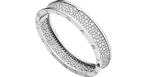 Bangle Bvlgari Gold Coloured Diamonds Bangle bvlgari b zero1 18ct white gold and bangle in metallic lyst