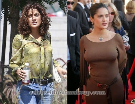 Salma Hayek Engaged And Knocked Up by Salma Hayek Makeup On Without Makeup
