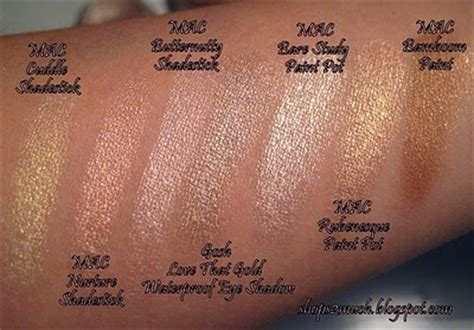 mac paint pot swatches i rubenesque but i want bare study make up warm