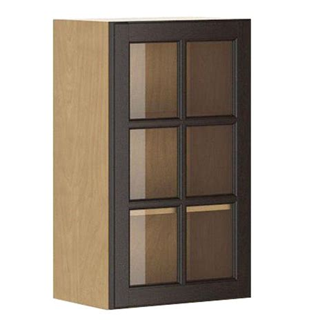 Glass Door Kitchen Wall Cabinets Eurostyle Ready To Assemble 18x30x12 5 In Naples Wall Cabinet In Maple Melamine And Glass Door