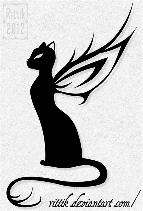 angel cat tattoo designs tattoos on wing tattoos cat tattoos and