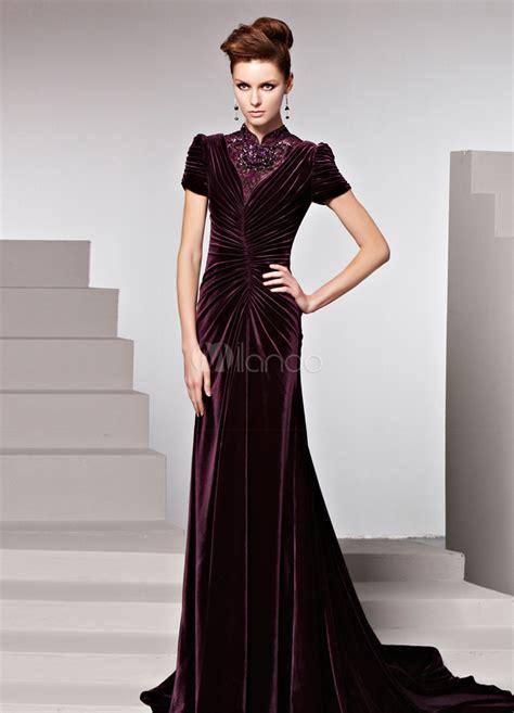 Grape High Collar Beading Sheath Velvet Evening Dress For Women   Milanoo.com