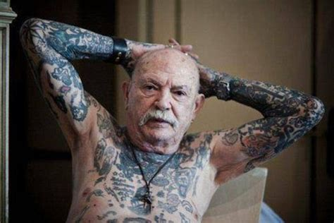 old person tattoo pensioners show skin covered in tattoos daily mail