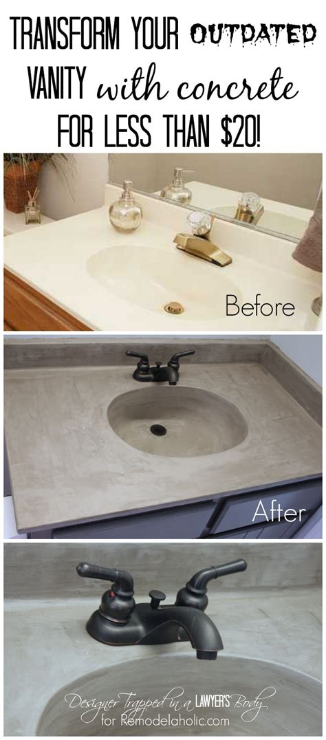 diy concrete bathroom sink remodelaholic diy concrete vanity with integral sink