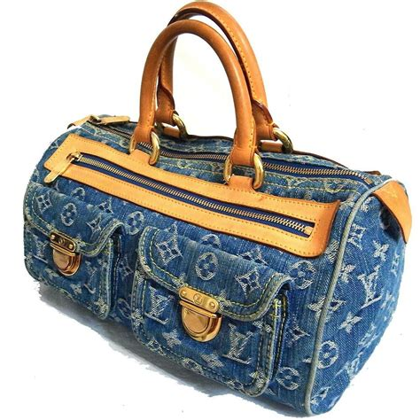 auth louis vuitton neo speedy  hand bag purse blue