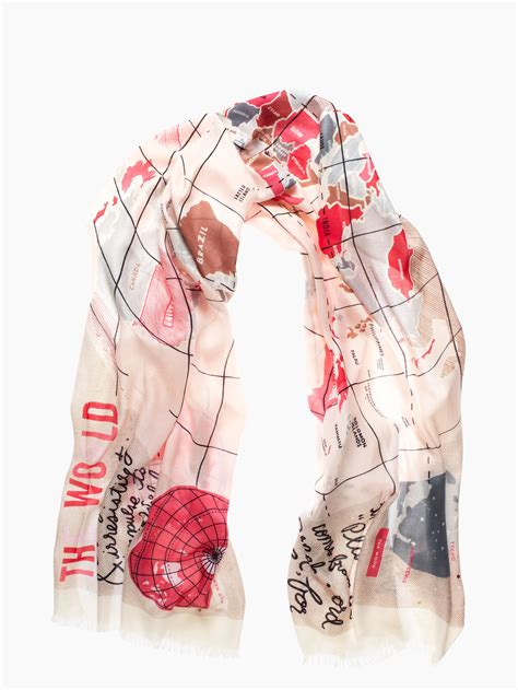 kate spade new york world map scarf lyst