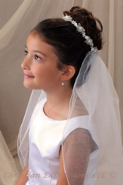 girls hairstyles for first holy communion love this veil and bunwrap first communion pinterest