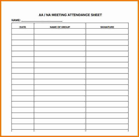 meeting attendance list template aa meeting attendance sheet free aashe