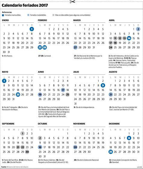 Calendario 2017 Y Sus Feriados El Calendario 2017 Con El Nuevo Esquema De Feriados