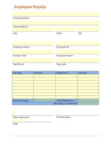 Blank Payslip Template by Business Form Template Gallery