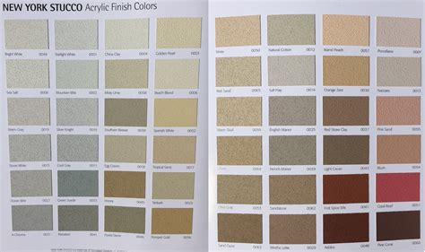 pin stucco color chart on