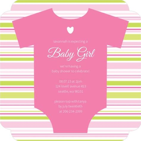 pink onesie baby shower invitations images pink onesie girl baby shower invitation by invite shop
