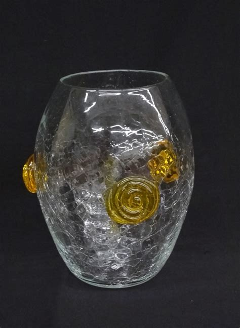 Crackled Glass Vase by Blenko Crackle Glass Vase With Applied Yellow Swirls