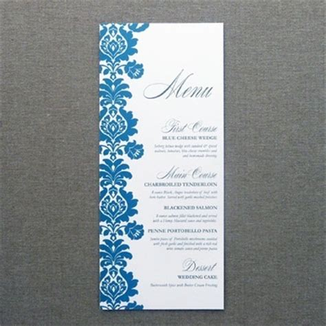 Wedding Menu Card Template by Menu Card Template Rococo Design Print
