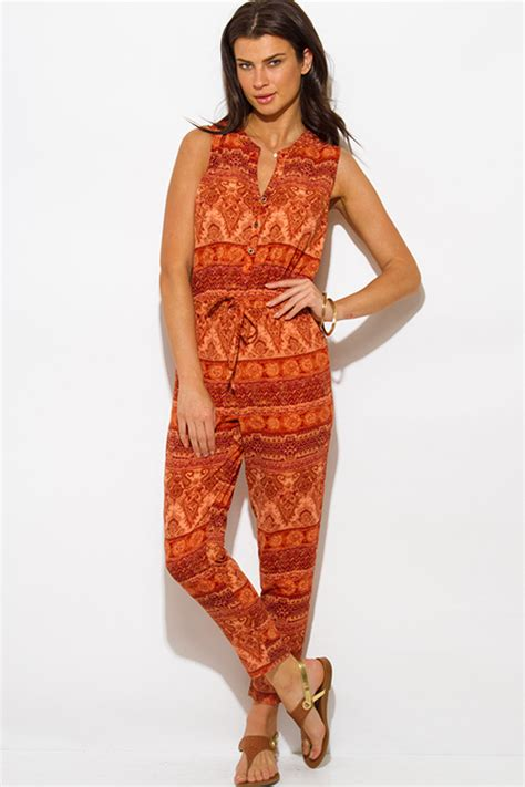 Jumpsuit Ethnic shop rust orange ethnic print boho harem jumpsuit