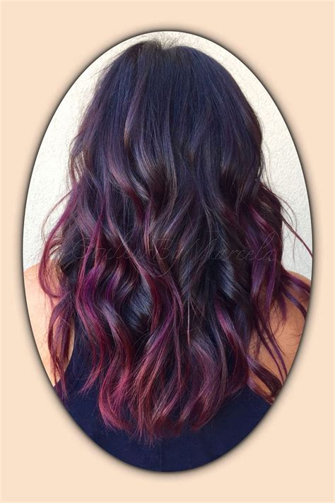 balayage painted hair fall colors red violet violet hair