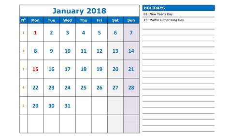 50 calendar 2018 templates printable word pdf excel