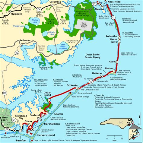 map of the outer banks carolina outer banks scenic byway map america s byways