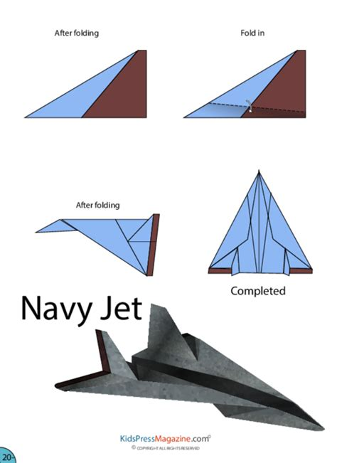 Directions On How To Make A Paper Airplane - paper airplane navy jet kidspressmagazine