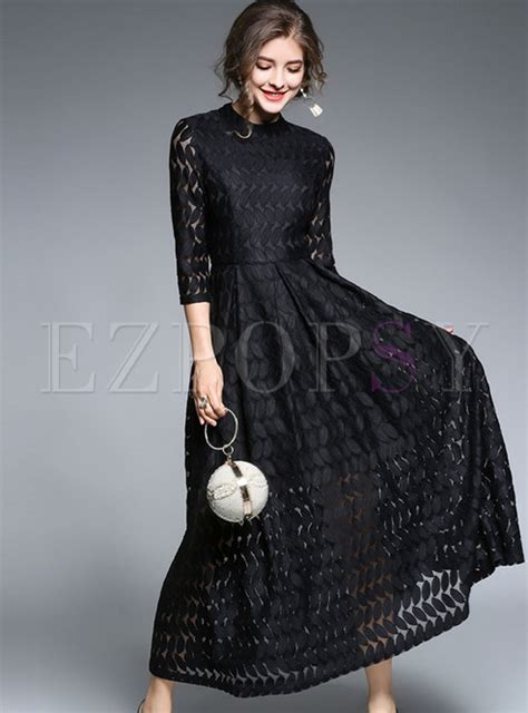 Brief Black Lace Stand Collar Three Quarters Sleeve Maxi
