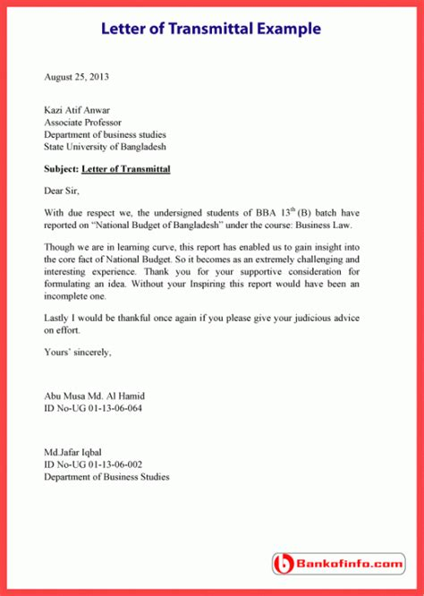 Transmittal Letter Sle For Report letter of transmittal exle template sle format