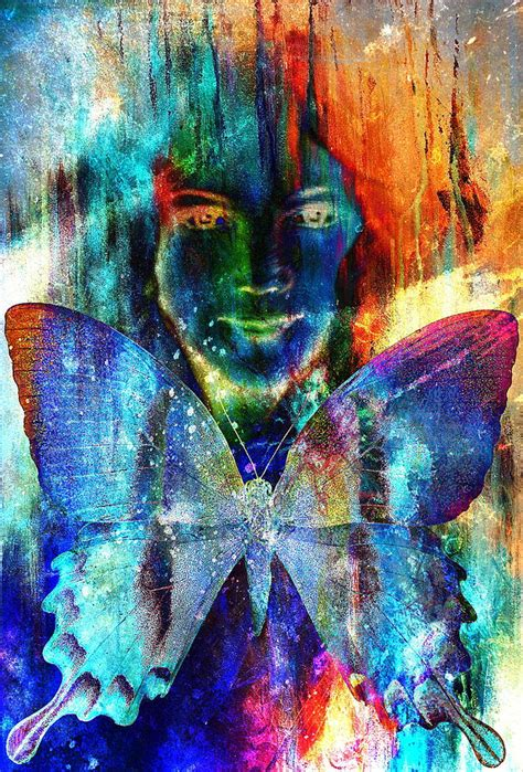 color collage angelic and a butterfly structure color