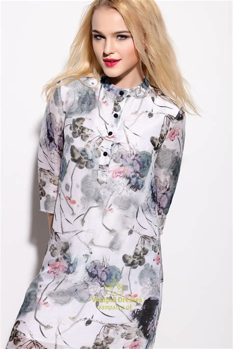 Print 3 4 Sleeve Chiffon Dress vintage style floral print chiffon dress with 3 4 sleeve