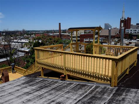Red Home Decor Accents Rooftop Deck Baltimore Federal Hill Contemporary